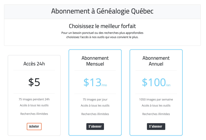 Options d'abonnement à Généalogie Québec